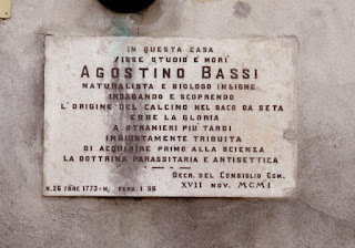A plaque outside the house in Paolo Gorini in Lodi, where Bassi lived and studied, commemorates his life