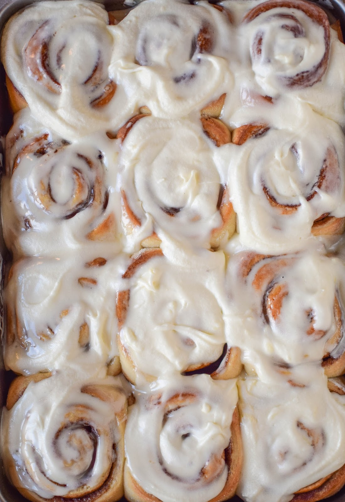 Frosted Overnight Cinnamon Rolls