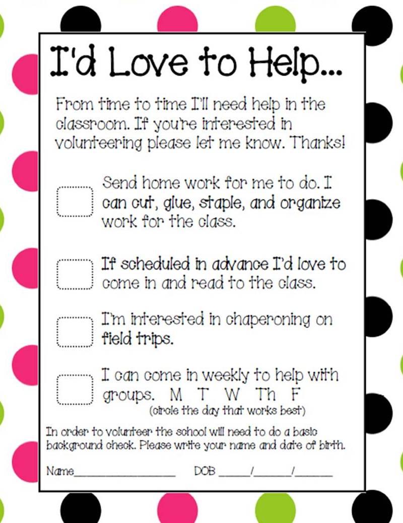 parent volunteer sign up sheets