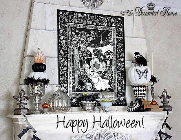 Halloween at The Decorated House. Elegant black and white decorating with mercury glass and silver.