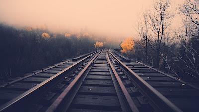 Vías del tren con niebla
