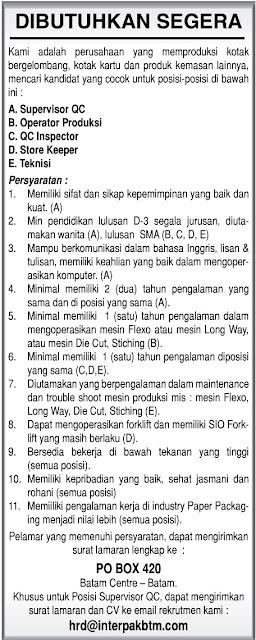 Lowongan Kerja PT. Interpark Batam Indonesia