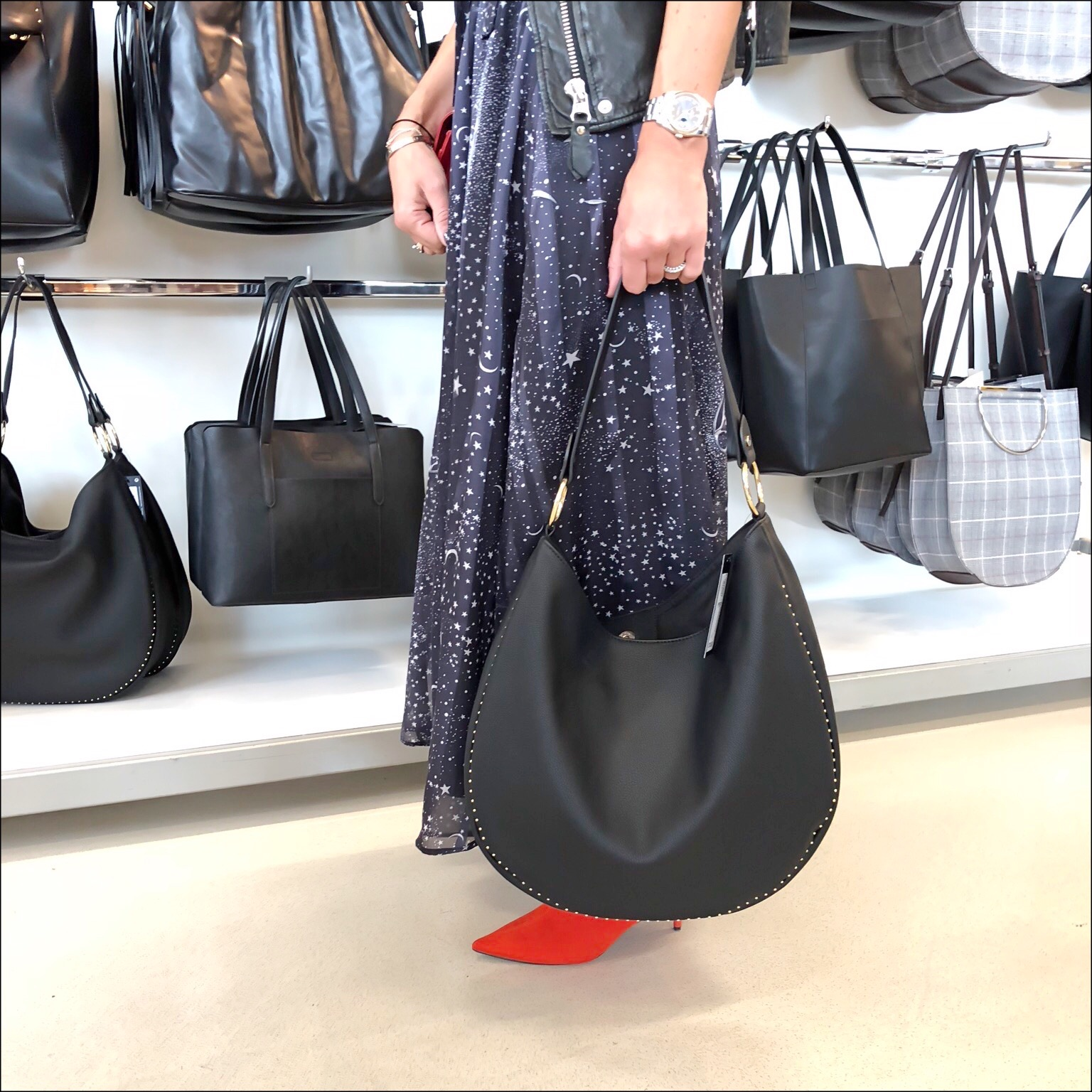 my midlife fashion, marks and spencer studded hobo bag