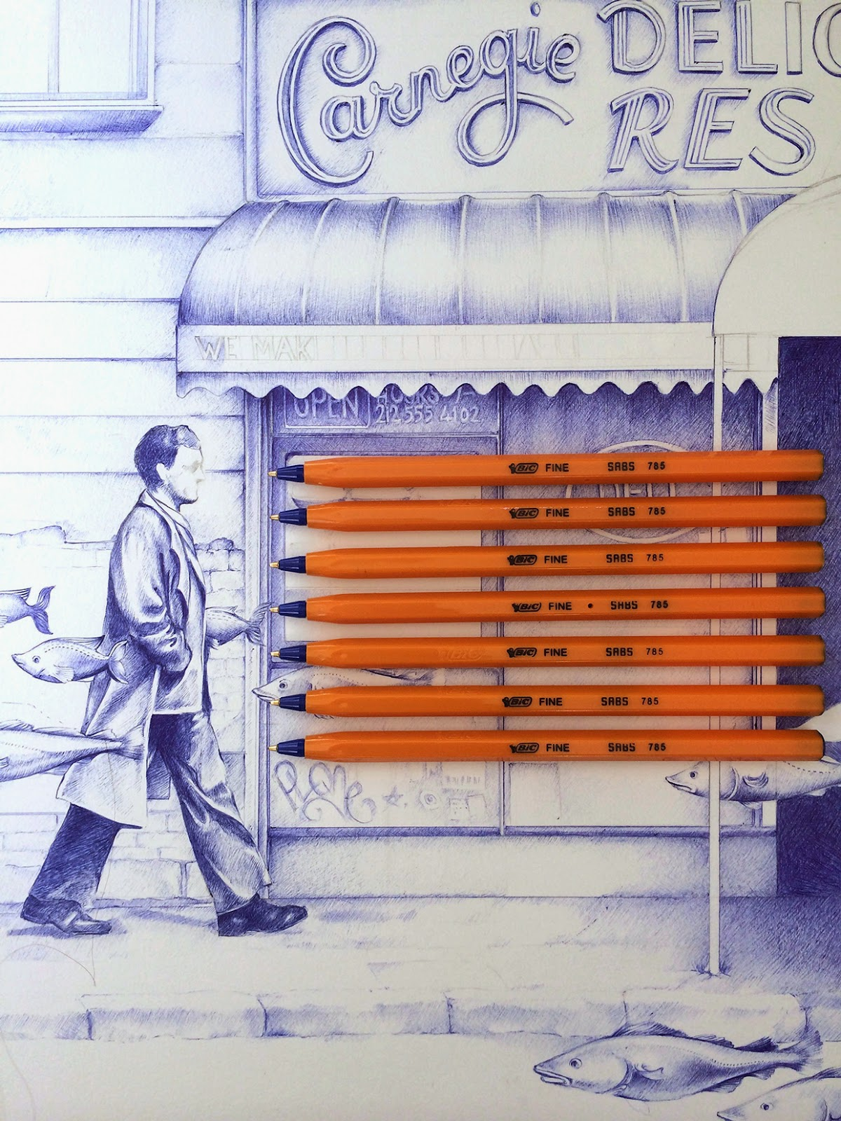 03-A-Sunday-on-55th-Street-Dani-Loureiro-Zero-Gravity-Ballpoint-Pen-Drawings-www-designstack-co