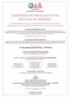 I SIMPÓSIO DE PROCESSO CIVIL DO VALE DO RIBEIRA