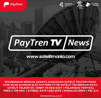 Channel Terbaru PayTren TV di Satelit Telkom 3 S