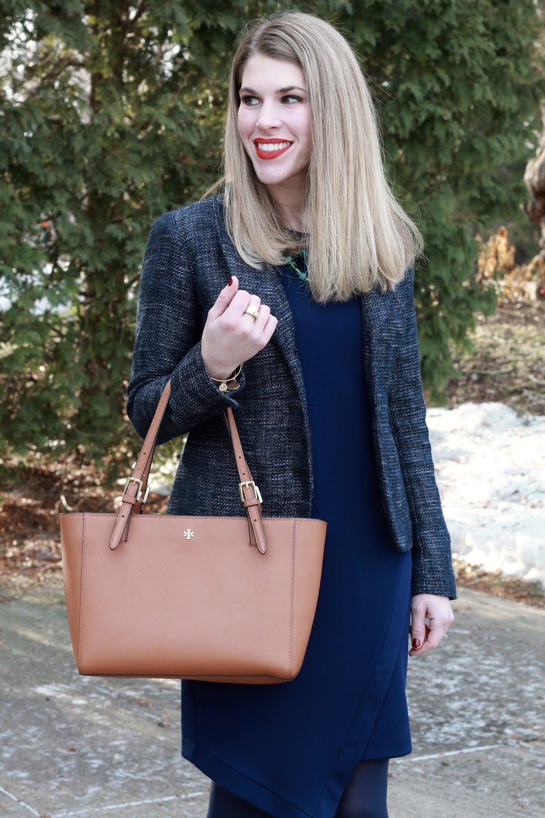 navy envelope dress, navy boucle blazer, cognac riding boots, tory burch tote,