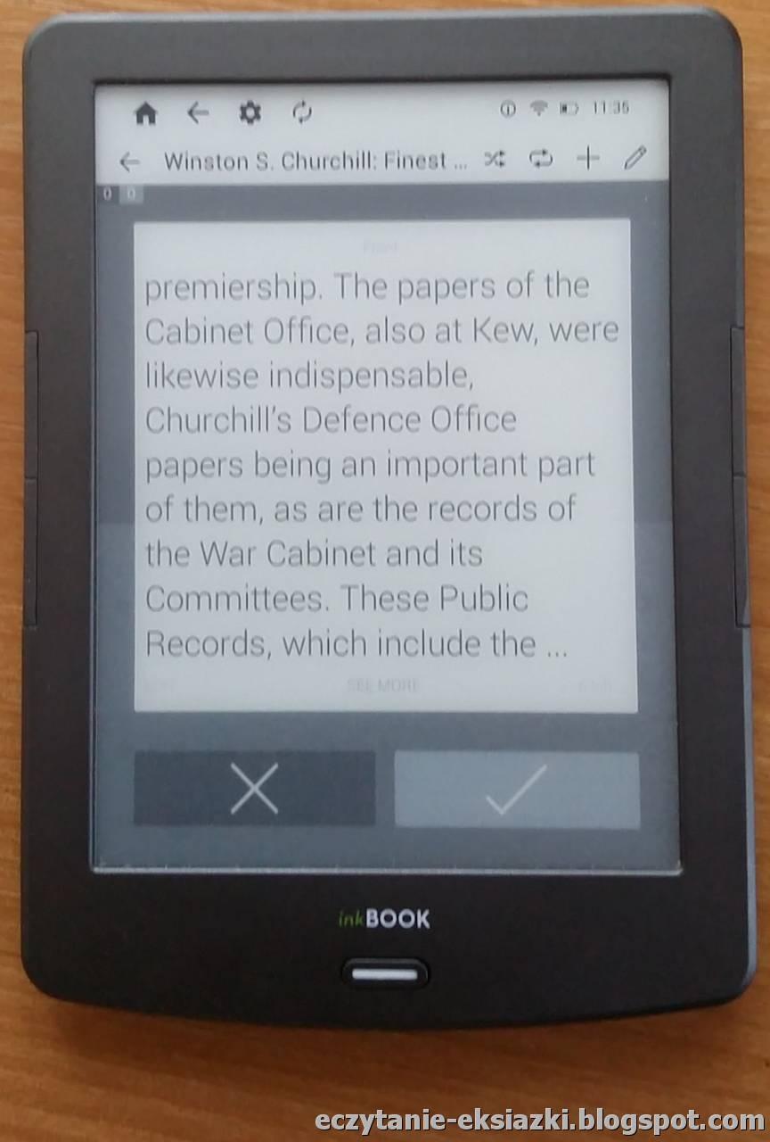 Aplikacja Kindle na InkBOOK Classic 2: przykładowa fiszka z trybie powtórzeń