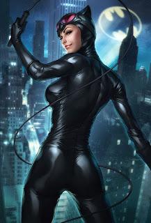 ilustración de gatubela con traje negro ajustado