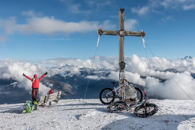 Fat Bike Gipfel Blaser Winter Schnee Brenner