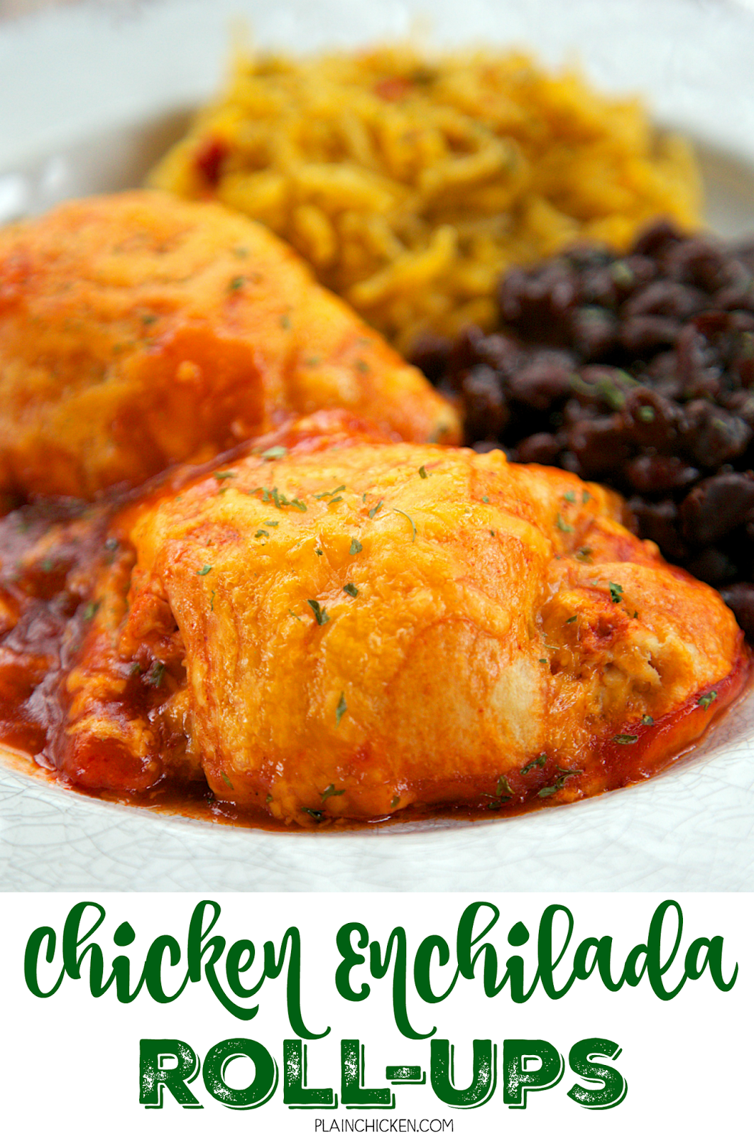 Chicken Enchilada Roll-Ups - chicken, cream cheese, southwest seasoning, cheddar cheese, wrapped in crescent rolls and baked in enchilada sauce. SO good. Serve with some black beans and Mexican rice or a salad. We ate this 2 weeks in a row! Quick weeknight meal!