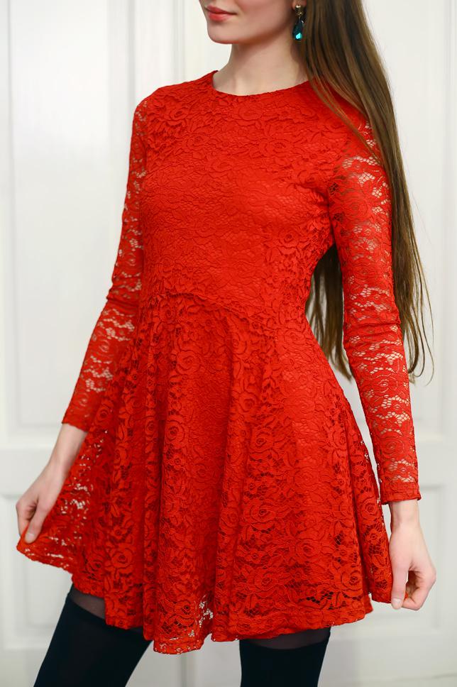 5a72441856 Ukochany Czerwona Koronkowa Sukienka H M NKW16