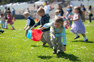 Photo of children participating in an Easter egg hunt