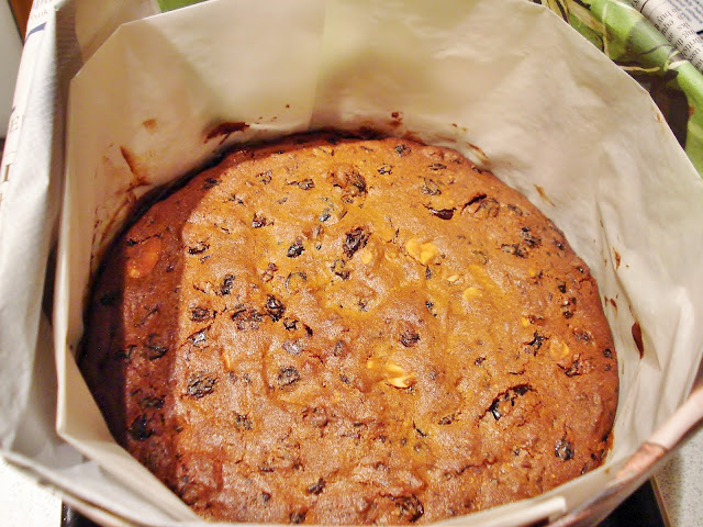 Gluten Free Christmas Cake in baking wrappings