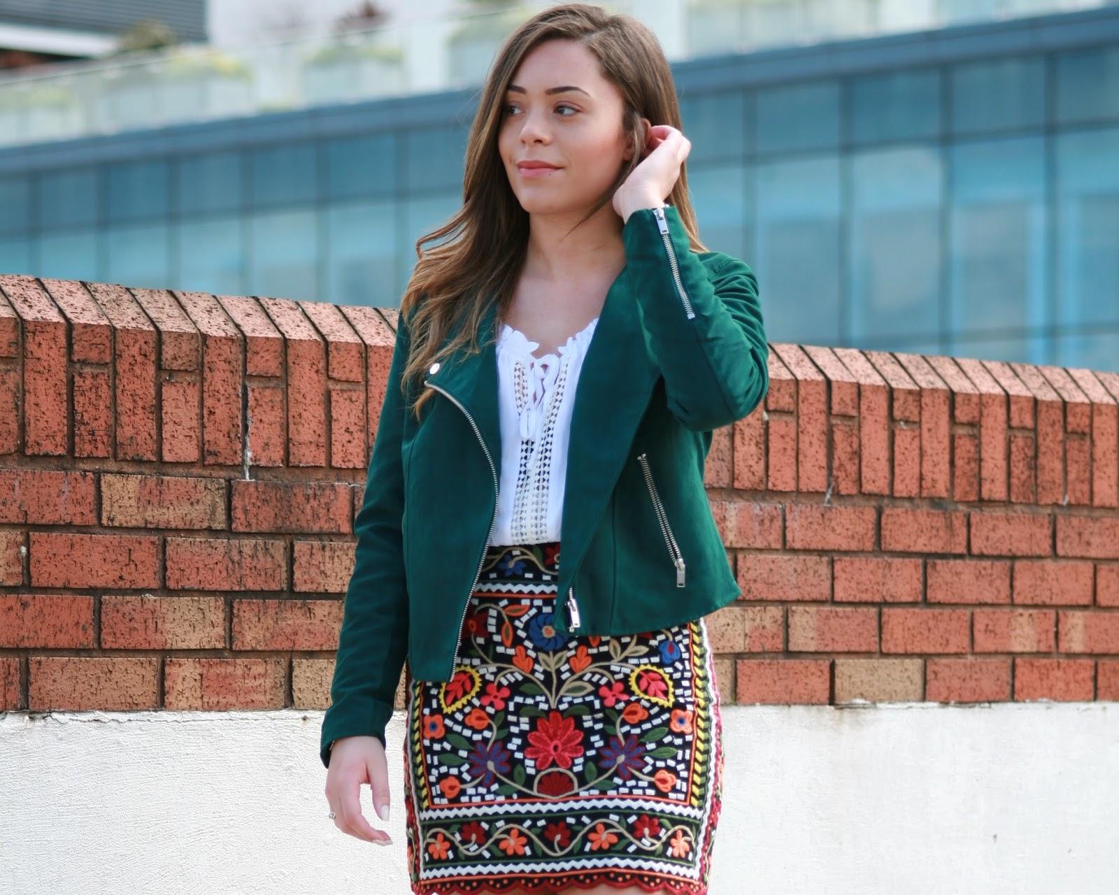 green suede h&m jacket