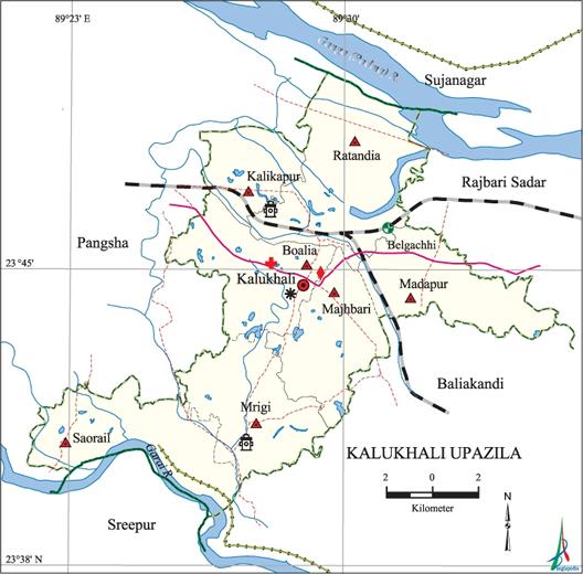 Kalukhali Upazila Map Rajbari District Bangladesh