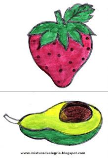 Desenho de morango e abacate