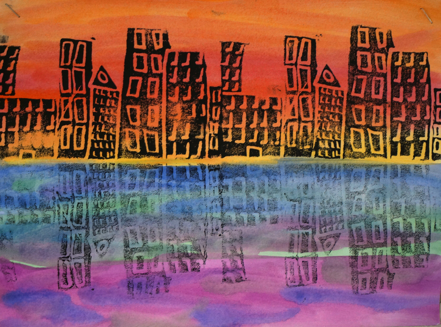 Mr O S Art Room 5th Grade Cityscape Prints On Warm And