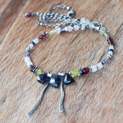 Handmade Iolite Sterling Silver Necklace with Peridot, Garnet, Moonstone