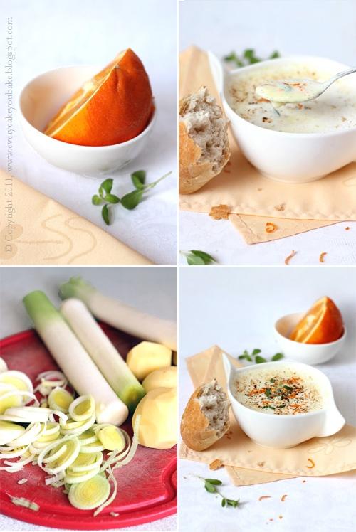 lekka kremowa zupa z pora i pomarańczy