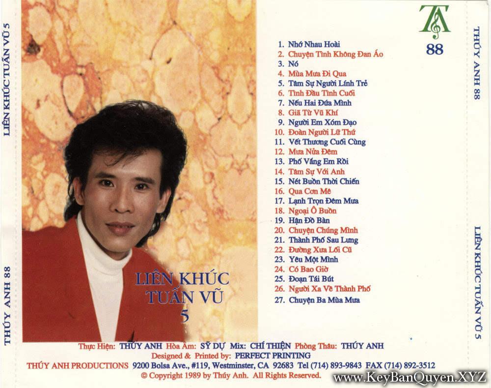 CD nhạc Liên Khúc Tuấn Vũ 5 (1989) [WAV]