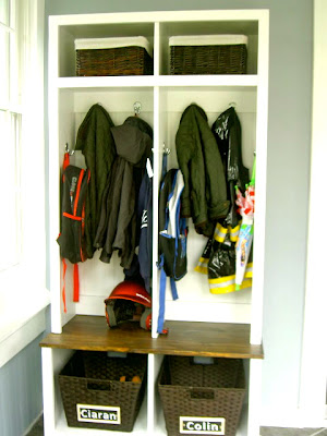diy locker and bench cubby unit