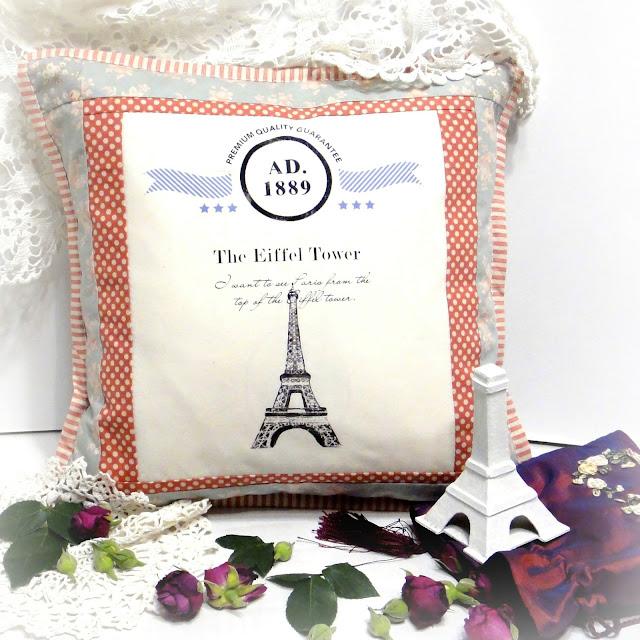 Диванные подушки Эйфелева Башня Париж - декоративные наволочки для подушек 40 см в горошек