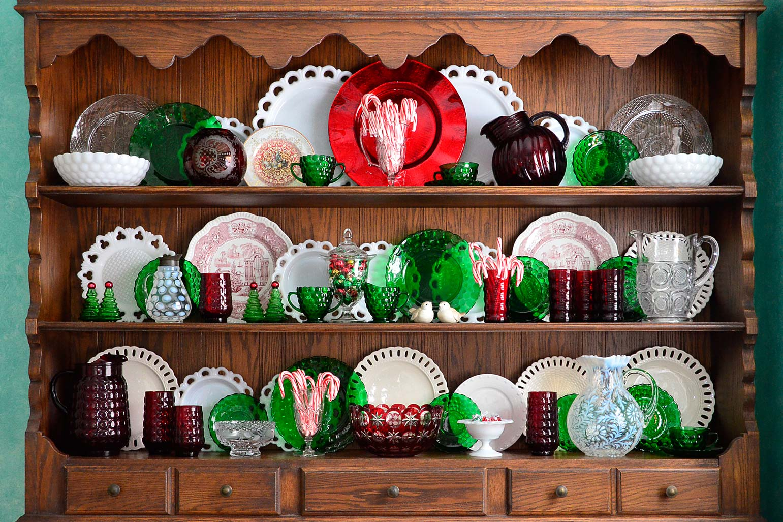 Christmas Hutch vintage glass
