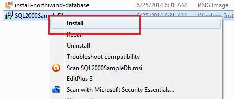 Install Northwind Pubs Sample Database SQL Server 2008 - ASP NET,C#
