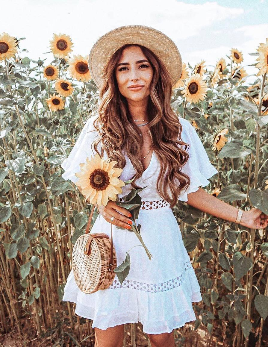 summer outfit inspiration / hat + white dress + straw crossbody bag