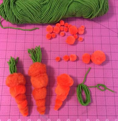 pom pom carrots Easter Amineko, how to craft stefanie girard