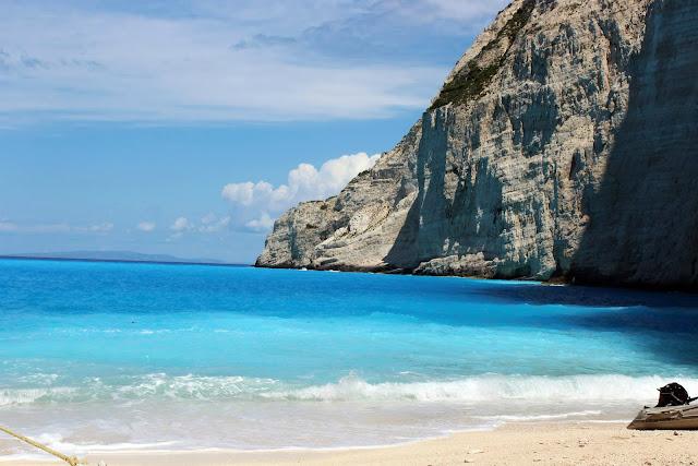 Greece, Zakynthos, shipwreck, beach, limestone, cliff, white sand, clear, water