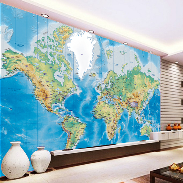World Map Wall Mural Wall Livingroom Wallpaper