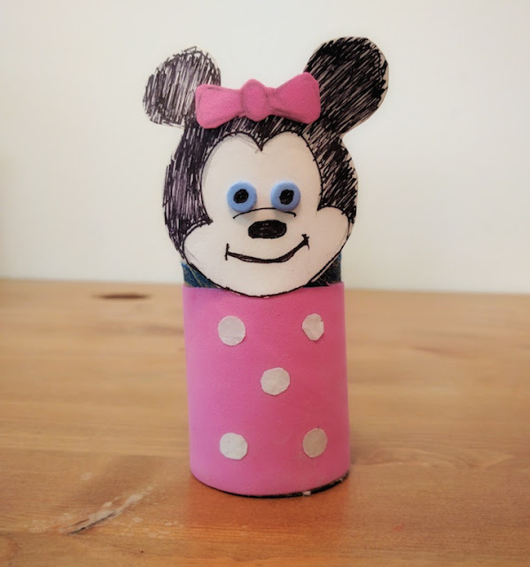 Disney craft, kids craft, cardboard tube craft, easy craft, mouse craft, preschool crafts, kindergarten craft