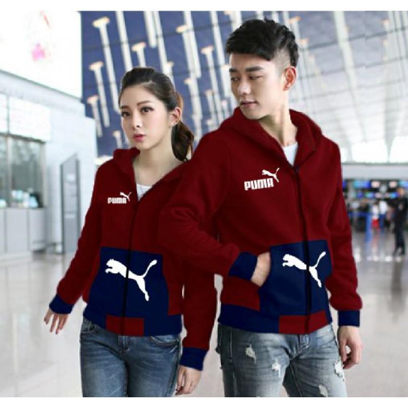 Jual Online Jaket Puma Pocket Maroon Navy Couple Murah Jakarta Bahan Babytery Terbaru
