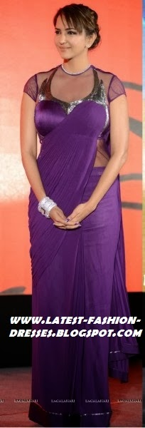 BOLLYWOOD ACTRESS PURPLE COLOUR SAREE