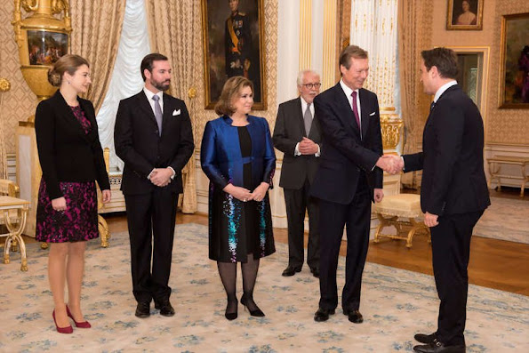 Grand Ducal Palace in Luxembourg, held a New Year's reception for members of the government. On the occasion of new year, the Grand Duke and Grand Duchess were accompanied by Hereditary Grand Duke Guillaume and Hereditary Grand Duchess Stephanie