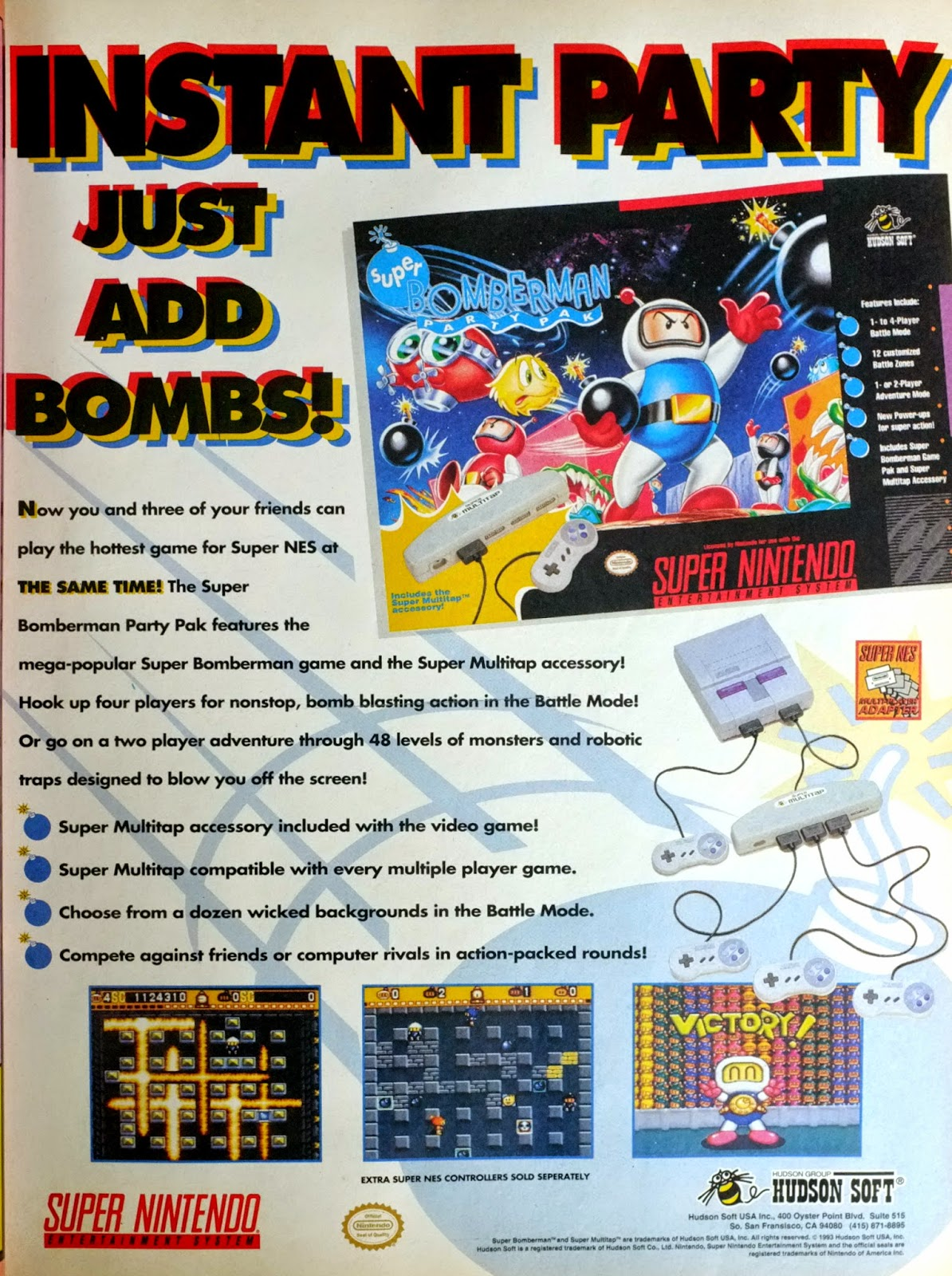 Super Bomberman Party Pak for Super NES advertisement