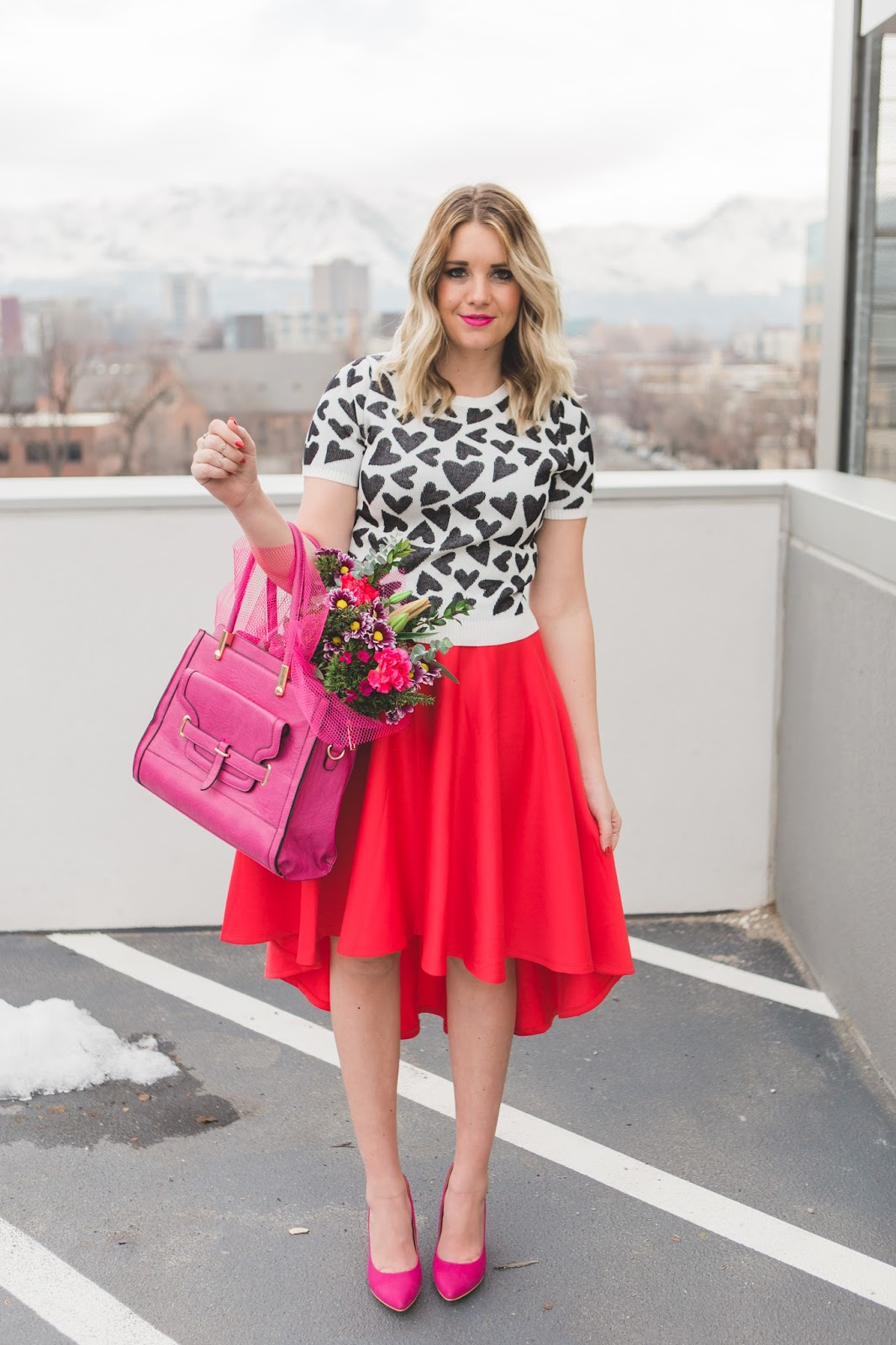 Red and Pink, Utah Fashion Blogger, Red Skirt, Pink Purse