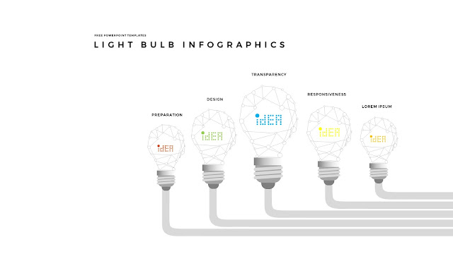 Infographic Free PowerPoint Templates with Light Bulb  Diagrams in White Background