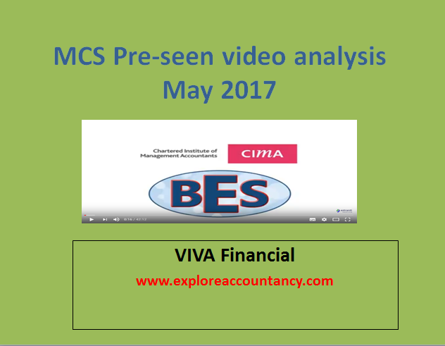 CIMA MCS May 2017 Pre-seen Video analysis from VIVA Financial