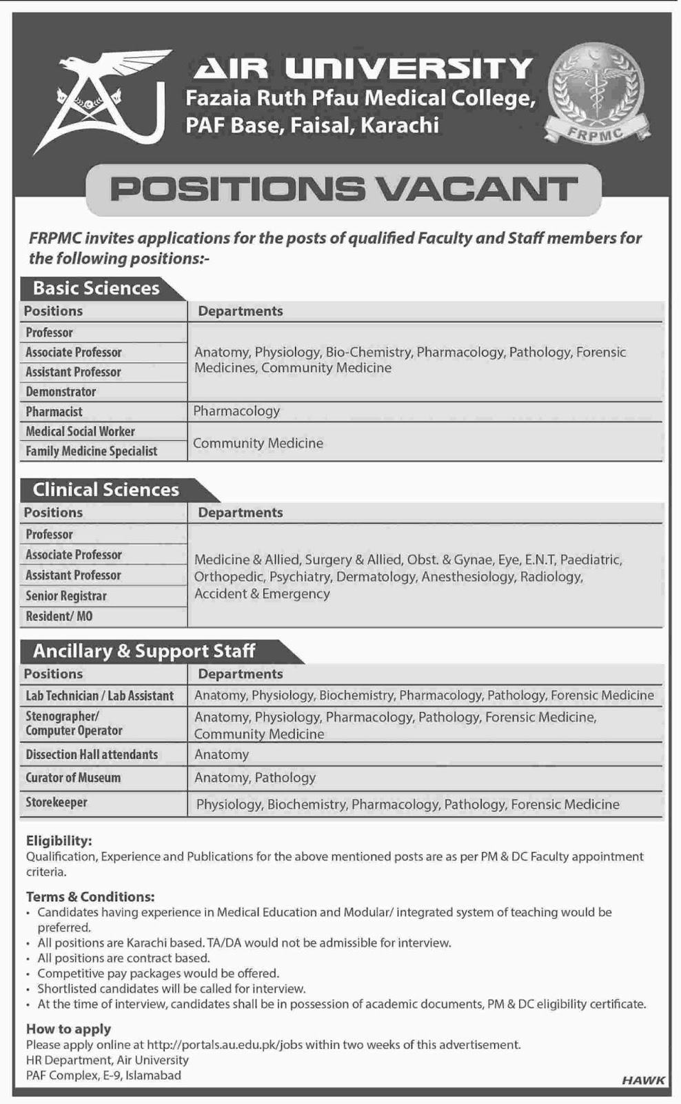 Career Opportunities in Air University Karachi - au.edu.pk