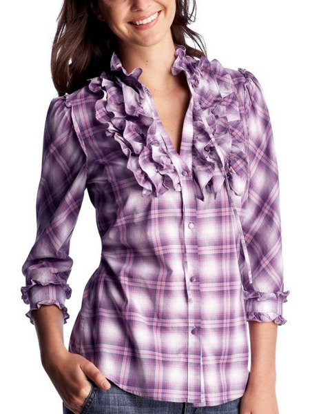 9332bfb9cf6888 Womens Clothing Plaid 3 4 sleeved ruffle front top long design