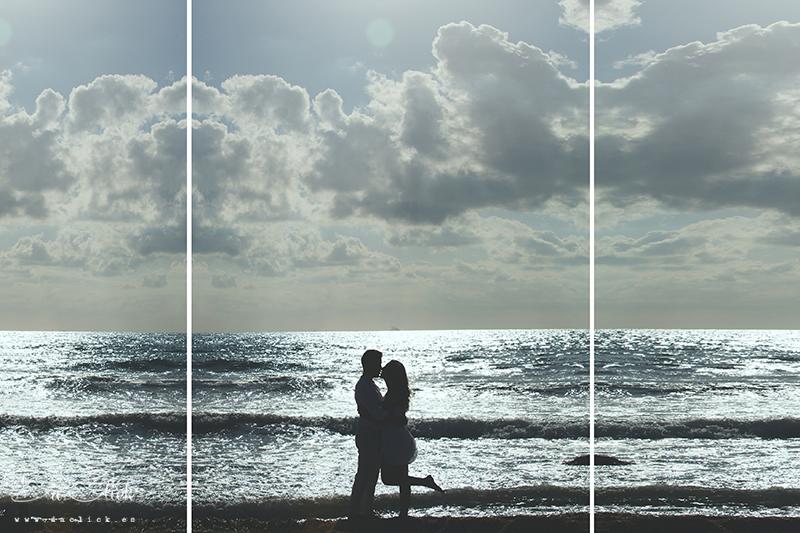 contraluz pareja en la playa