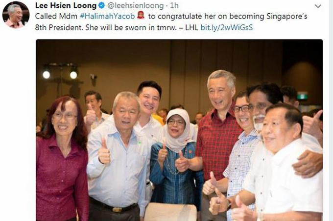 A screenshot of Prime Minister Lee Hsien Loong's congratulatory message on Twitter.