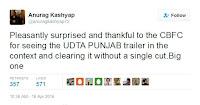 अनुराग कश्यप ट्वीट जिसमें पहलाज नहलानी को thank you कहा