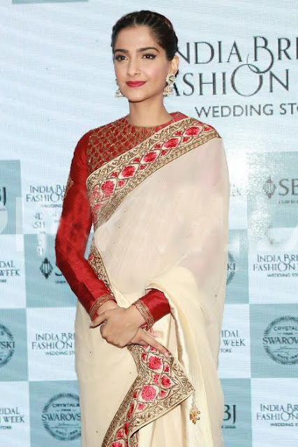 Sonam Kapoor in Traditional in Red and White Saree