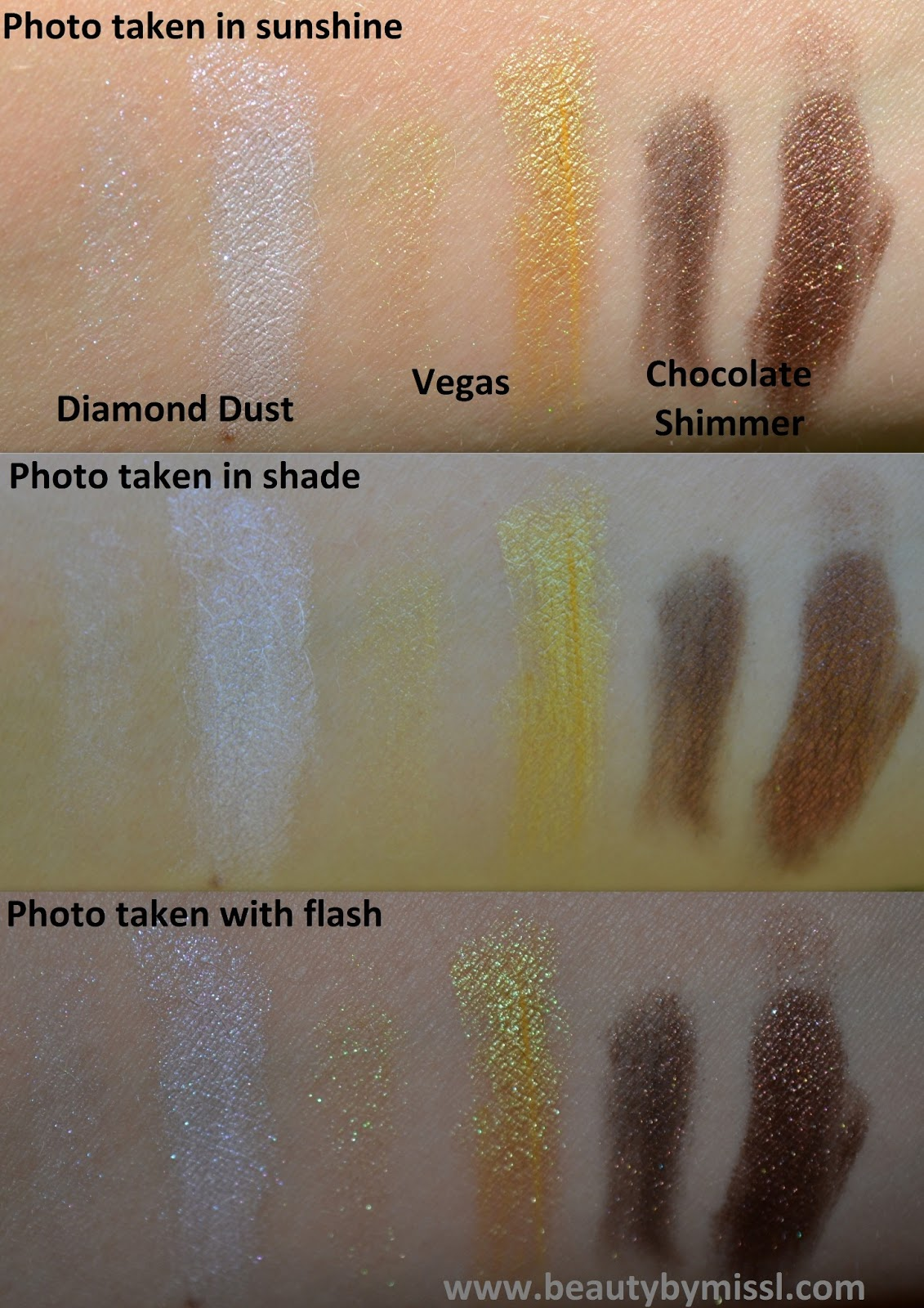 diamond dust, vegas, chocolate shimmer,
