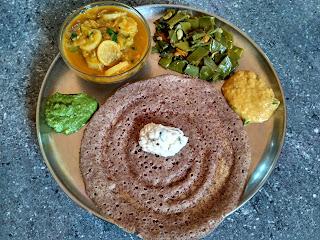 Maappillai Samba rice dosa, Radish sambhar, Flat beans poriyal, Mint Chutney, Coconut Chutney, Tomato Chutney