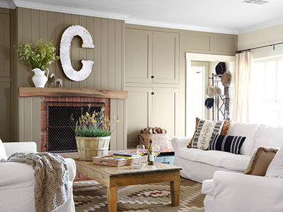 Rustic Elegant Modern Farmhouse Living Room on Hello Lovely